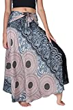 B BANGKOK PANTS Women's Long Boho Maxi Skirt Hippie Clothes Bohemian Asymmetric (Grey Floral, Plus Size)