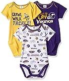 NFL Minnesota Vikings 3 Pack Short Sleeve Bodysuit, purple/gold/white Minnesota Vikings, 6-12 Months (137453160VKS612-520)