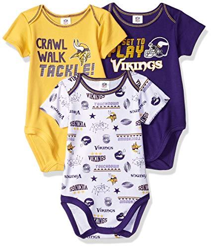 NFL Baby-Boy 3 Pack Short Sleeve Bodysuit, Team Color, 3-6 Months