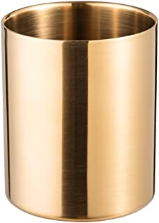 IMEEA® Pencil Cup Holder Pen Pot Makeup Brushes Holder Desk Stationery Organizer Stainless Steel (Gold)