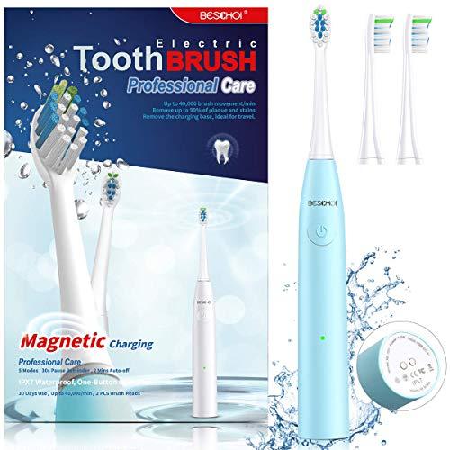 BESCHOI Elektrische Zahnbürste, Schallzahnbürste mit 5 Putzprogrammen, 2 Minute Timer, IPX7 Wasserdicht, 2 Bürstenköpfe, Magnetische USB-Aufladung, 3 Stunden Aufladen für 30 Tagen, Für Plaque (Blau)