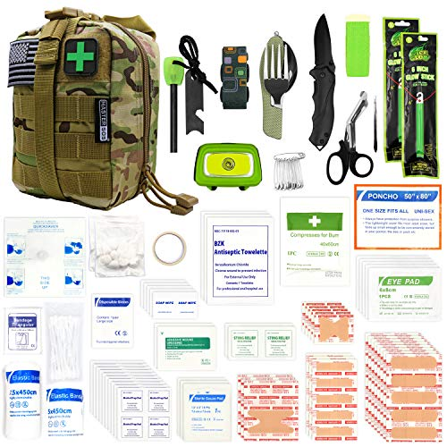 MASTER SOS First Aid Survival Kit with MOLLE System, 260 Pc Set, Rugged EDC Military Trauma Bag for Outdoor Survivalists, Camping, Emergency EMT Response, Hiking and Earthquake Safety (Camo)
