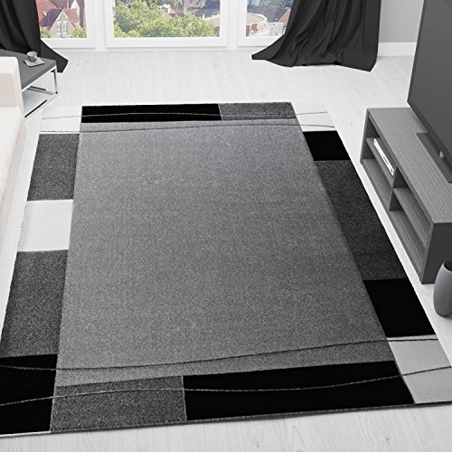 VIMODA Moderner Teppich Umrandung Konturenvertiefung in Grau, Maße:80 x 150