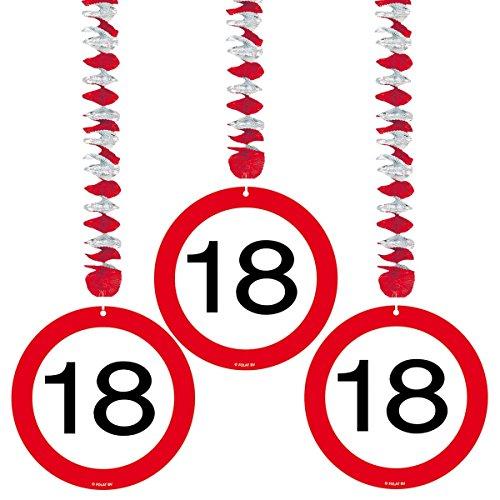 3er Set Rotorspirale Verkehrsschild 18. Geburtstag