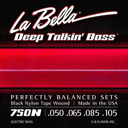 Labella 750N - Juego de cuerdas de nailon para bajo (50 105, planas), color negro