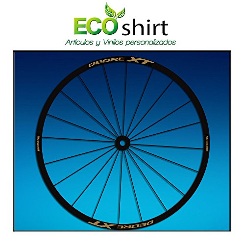 Ecoshirt KF-Y26I-A9XF Pegatinas Stickers Llanta Rim Shimano Deore XT Am49 MTB Downhill, Gold 29'