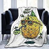 Gafas de Sol Hawaii Vacation Piña Fruta Tropical Franela Mullida Manta de Tiro de Lana Completa Edredón tamaño Queen King Felpa Suave y Acogedor Edredón Guardería Ropa de Cama Decoración Decoraciones