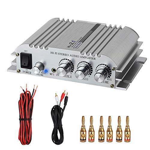 LiNKFOR Mini HiFi Verstärker mit 10m Audiokabel + 3 Paar Bananenstecker Stereo Verstärker, 2x40W, 12V 5A, Leistungsverstärker aus Aluminiumlegierung, 2.1CH, Klasse D für CD MP3 MP4 Motorräder