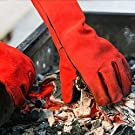 NoCry Fire Proof Welding Gloves; Also Suitable for BBQ & Grilling, Fire Pit, Pizza Oven, Forging and More; Premium Heat Resistant Cowhide Leather; Long 14 inch Forearm Protection; Red, Size Large #3