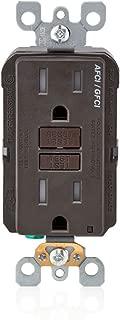 Leviton AGTR1 SmartlockPro Dual Function AFCI/GFCI Receptacle, 15 Amp/125V, Brown