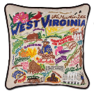 West Virginia Hand-Embroidered Pillow