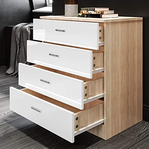 600mm White/Oak Chest of Drawers for Bedroom Wardrobe and Hallway Storage Cabinet Set of 4 Metal Handle Draws High Gloss Organiser Funiture Units