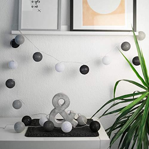 LED Lichterkette aus 20 Baumwollkugeln 3 meter Kugeln Kette Cotton Balls Bälle Kinderzimmer Stimmungslicht (Grau, 3 meter)