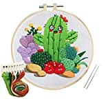 Louise Maelys Full Range of Beginner Embroidery Kit with Cactus Plant Pattern Cross Stitch Needlepoint Kit Embroidery Starter Kit for Decoration Gifts