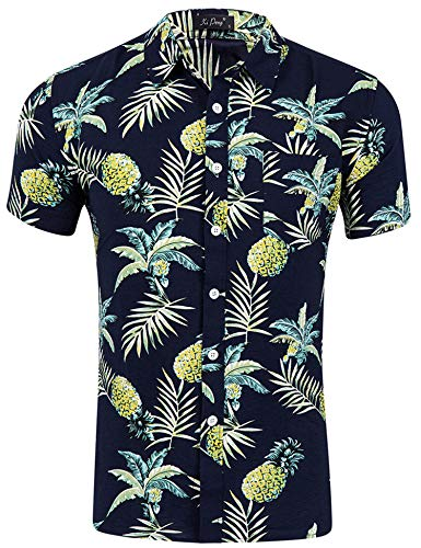 AIDEAONE Herren Funky Hawaiihemd Ananas Kurzarm Sommer Urlaub Hemd Hawaiian Urlaub Schwarz Hemd