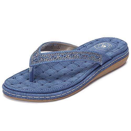 CAMEL CROWN Women's Rhinestone Flip Flops Summer Bohemian Comfortable Flat Thong Sandals Summer Slip on Flip-Flop Casual Beach Holiday Shoes Blue