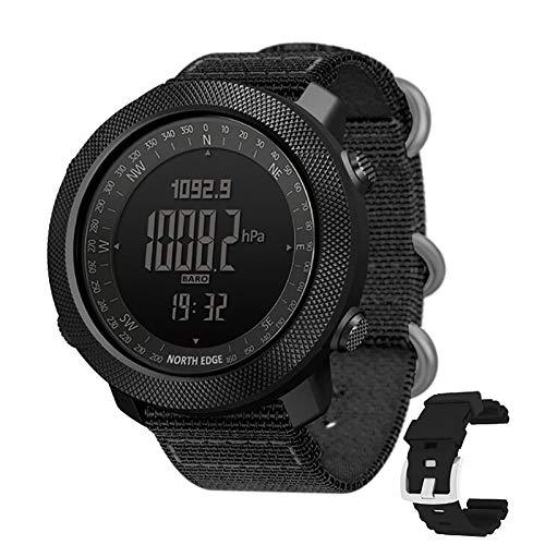 ZJM Smartwatch da Uomo, Schermo da 1,8 Pollici, Orologio Militare Impermeabile da 50 M, Orologio Digitale Sportivo con Barometro Dell'altitudine, Caratteristiche della Temperatura della Bussola,Nero