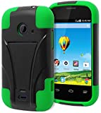 Prelude 2 (Zinger) Case - Bastex Heavy Duty Kickstand(T-Stand) Case - Soft Green Silicone Cover with Hard Black T-Stand Case for ZTE Prelude 2 (Zinger) Z667