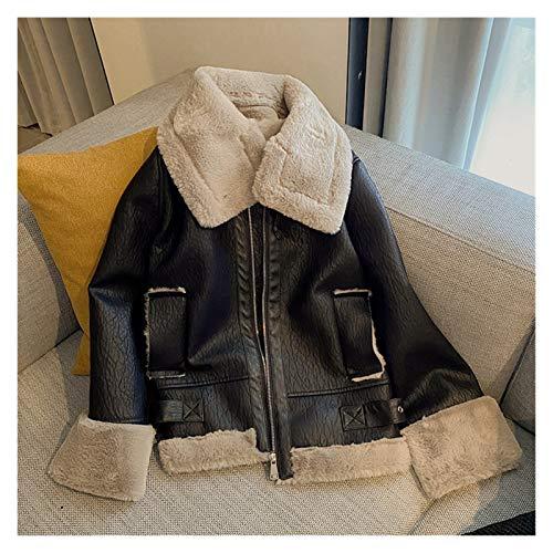 aiyu Chaqueta de piel sintética de invierno con empalme visón, chaqueta de piel sintética para mujer, con cremallera suelta, abrigo grueso cálido, abrigo de piel sintética (color: negro, talla M)