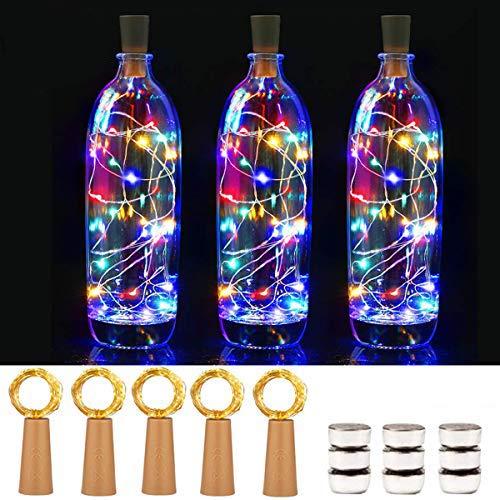 15 luci a LED per bottiglia con 50 batterie, 20 LED in filo di rame da 2 m, con filo di sughero e filo di rame per decorazioni fai da te, Natale, feste, vacanze, atmosfera (colore)