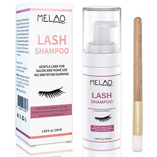 Eyelash Extension Cleanser Eyelid Foaming Cleanser Lash Foam Shampoo for Extensions, Oil, Paraben & Sulfate Free,100% Safe for Natural Lashes, Non-Irritating, Perfect for Professional Salon 1.69fl.oz
