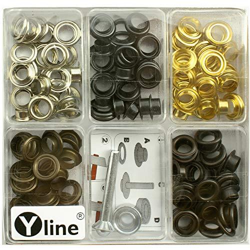 Yline Sortiment 100 Ösen mit Scheiben 8 mm altkupfer, altmessing, brüniert, Silber- & goldfarben mit Werkzeug im SB Pack, 3080
