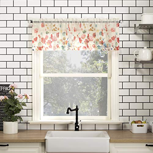 No. 918 Rosalind Watercolor Floral Semi-Sheer Rod Pocket Kitchen Curtain Valance, 54' x 14', Poppy Red