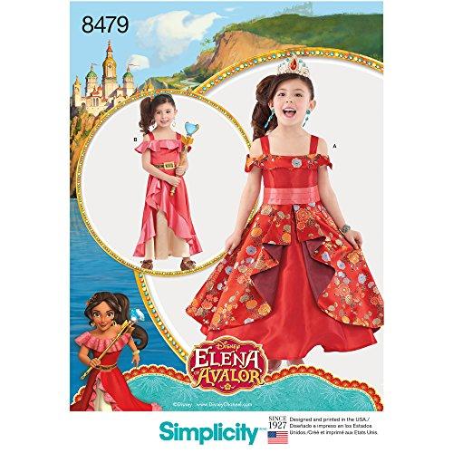 Simplicity 8479Pattern 8479 Disfraz de Elena de Avalor para nio, papel, blanco, A (3-4-5-6-7-8)