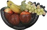 Portafrutta di design a rete, cesto portaoggetti decorativo, frutta e verdura decorazione tavolo da pranzo cucina, controsoffitto, pezzo d'arte nera cestino dal design moderno scandinavo contemporaneo