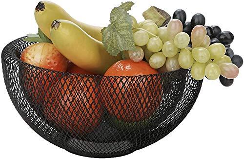 Frutero con diseño de malla, cesta de almacenamiento decorativa, frutas y verduras, decoración de mesa de comedor, cocina, falso techo, pieza de arte negra con diseño moderno escandinavo contemporáneo