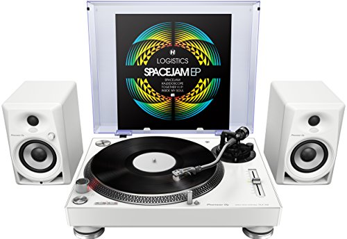 Pioneer PLX-500-W Direct Drive Turntable - White Bundle with DM-40 Active Monitors and Austin Bazaar Polishing Cloth