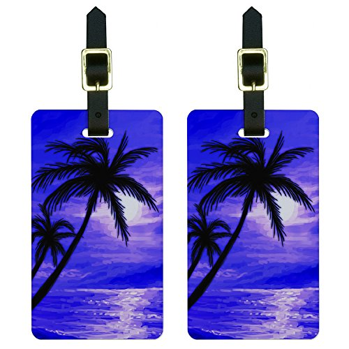 Graphics & More Palm Trees and Sunset Purple-Beach Tropical Ocean Luggage Tags Id, White