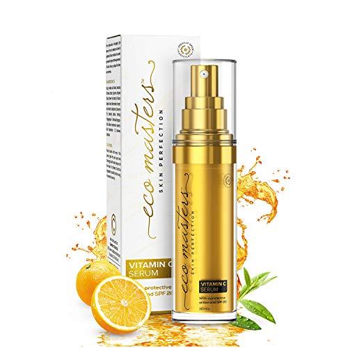 Sérum Vitamine C SPF 20-30 ml - Eco Masters Skin Protection Vegan   Sérum Visage 100% Naturel avec de l'Acide Hyaluronique, Aloe Vera et Arbre à Thé