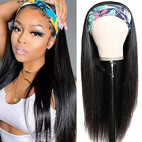 Straight Headband Wig Human Hair Wigs for Black Women Glueless None Lace Front Wigs Headband Wigs Human Hair 10A Brazilian Virgin Hair Machine Made Headband Wig 150% Density 14 Inch