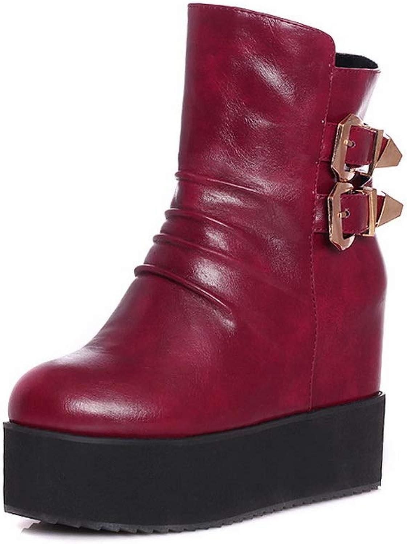 BalaMasa Womens Mule Platform Casual Leather Boots ABL12079