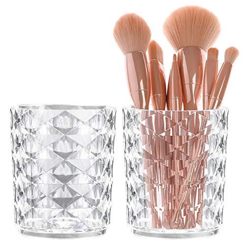 2Pcs Porte-Pinceau de Maquillage Cristal Brosse Organisateur en Cristal Seau Cosmétique Stockage pour Brosse Maquillage Brosses À Dents Stylo