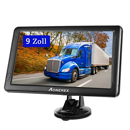 GPS Navi Navigation für Auto LKW PKW Aonerex 9 Zoll Touchscreen Navigationsgerät 8G 256M Sprachführung Blitzerwarnung mit POI Lebenslang Kostenloses Kartenupdate Fahrspurassistent UK EU 52 Karten