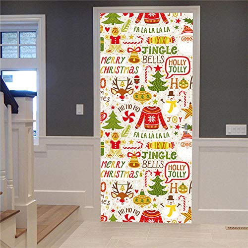 FJSZ Papel Pintado De La Puerta Etiqueta Engomada De La Puerta 3D Regalo del Árbol De Navidad Imagen De Escena De Nieve Autoadhesiva Etiqueta De La Puerta De Navidad