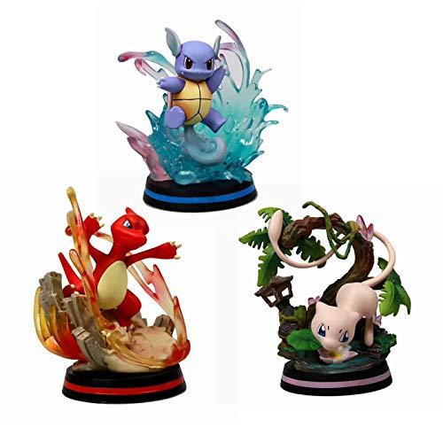 Qwead 3 Uds Figura De Pokemon Wartortle Charmeleon Mew Modelo Colección De Juguetes Figura De Acción 13Cm Juguetes De Anime para Niños Monstruo De Bolsillo