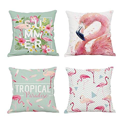 Hoomall Set de housses de coussin imprimées en lin et coton 45 x 45 cm motif flamand rose