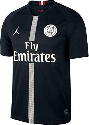 cc2e2be455e Amazon.com : NIKE Paris Saint-Germain Air Jordan Men's Third Jersey 2018- 2019 Black : Sports & Outdoors