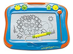 LARGE MAGNETIC BOARD - Megasketcher is the TOMY official classic mess-free doodling tool designed for early drawing skills and creativity development. Large 45x35cm, 5-inch screen for increased freedom of movement! HIGH ACCURACY SKETCH PAD - Draw fin...