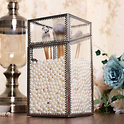 Asttic Make-up-Organisator Glas Vintage kosmetische Vitrinen Make-up-Bürsten-Halter mit weißen...