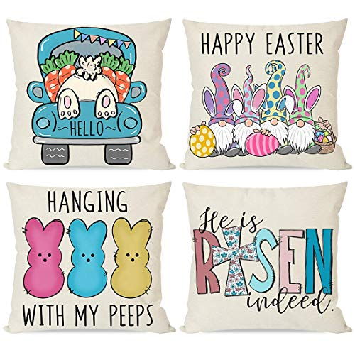 PANDICORN Set of 4 Easter Pillow Covers 18x18 for Easter Decorations, Easter Egg Bunny Rabbit Peeps Gnome Cross Carrot, Spring Decorative Throw Pillows Cases for Outdoor Decor Porch