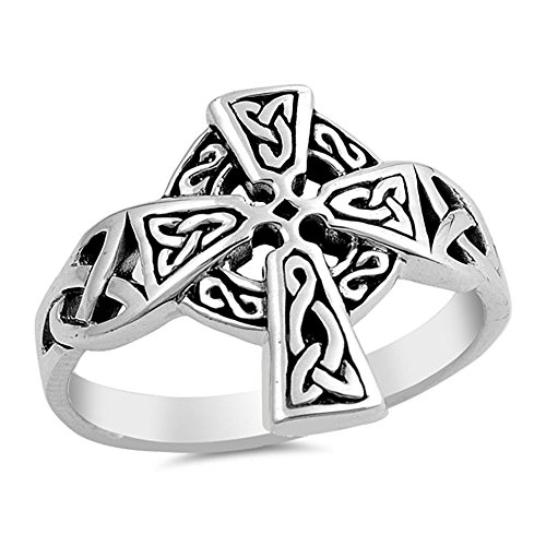 CloseoutWarehouse Oxidized Sterling Silver Celtic Cross Design Ring Size 10
