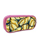 Lawenp Estuche para bolígrafos con estampado de mariposas en azul, bolsa de papelería portátil para la escuela, bolsa de almacenamiento diario de oficina de 2 x 4 x 8 pulgadas