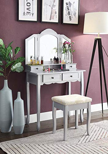 Roundhill Furniture Sanlo Wooden Vanity | Make Up Table and Stool Set -