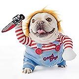 FayTun - Disfraz de muñeca mortal para perros, disfraz de Halloween para perros ajustable, disfraz de cosplay divertido de la muñeca letal de la peluca de perro Pug ropa de fiesta de Navidad