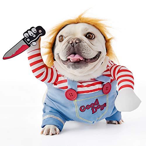 FayTun Tödliche Puppe, Hundekostüm, Halloween-Kostüme für Hunde, verstellbar, Cosplay-Kostüm, lustig, tödlich, Puppe, Perücke, Mops, Party, Kleidung, Weihnachtskostüm