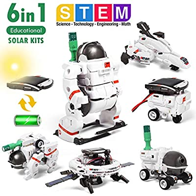 Lehoo Castle Solar Robot Toys, 6 in 1 STEM Educational Solar Space Building Toys, DIY Solar Power Learning Science Kit for Kids Aged 10+, Powered by Sunlight or Battery